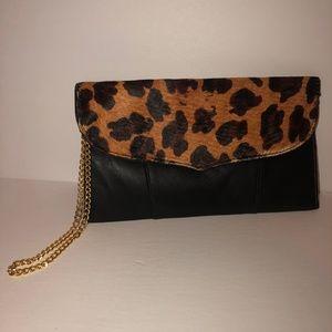 Carlos Falchi Chi Blk Leopard Clutch